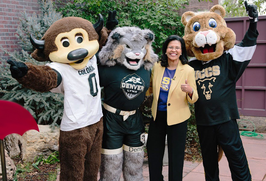 Kim Hunter Reed joined CU mascots Chip, Milo and Clyde for last month's College Friday.