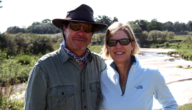 Thomas Ayres and his wife, Liz, on safari in Tanzania in 2016.