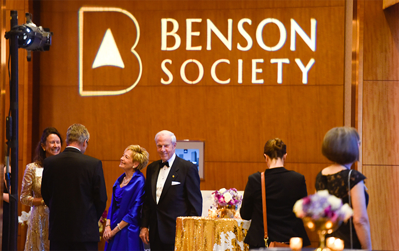The Benson Society recognizes President Bruce and Marcy Benson for their dedication to philanthropy.
