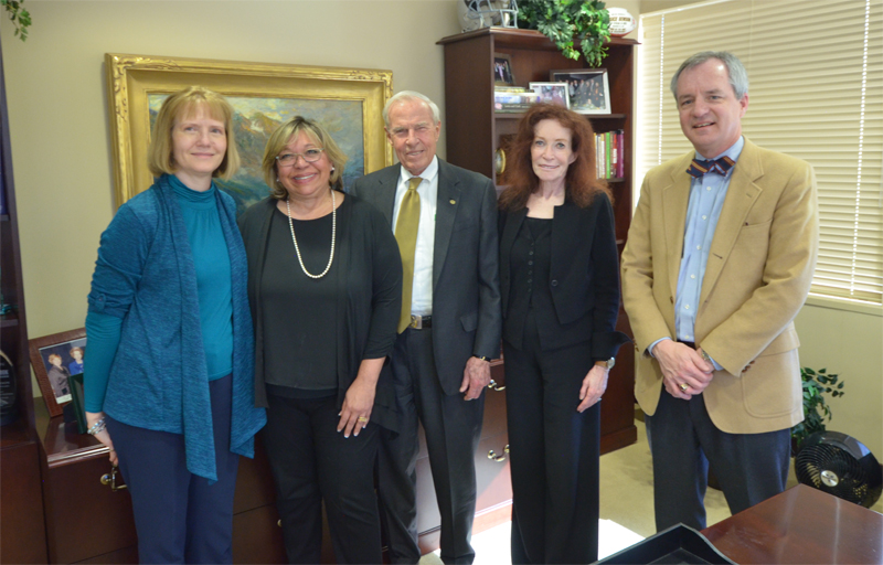 From left, Carol Getty, daughter of Klaus Timmerhaus; Margarita Bianco, Timmerhaus Teaching Ambassador; CU President Bruce Benson; Mary Ann Shea, director, President's Teaching Scholars Program; and Steven Medema, Distinguished Professor, CU Denver.