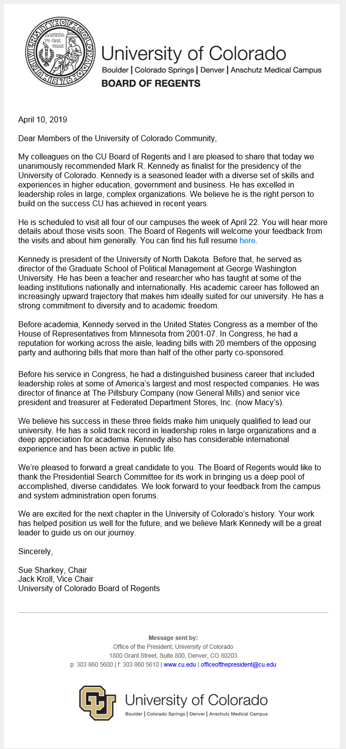 Board or Regents Email Re: Kennedy