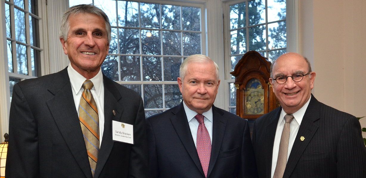 "Alexander ""Sandy"" Bracken, left, Robert Gates and Phil DiStefano at the Leo Hill Distinguished Leadership Speaker Series."