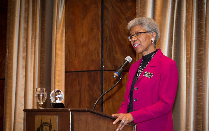 Brenda J. Allen speaks during Friday's Excellence in Leadership Luncheon and Lecture, where she accepted an ELP Award.