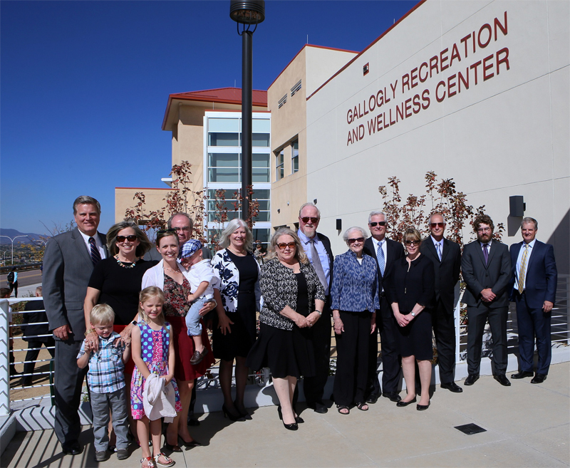 Members of the Gallogly family pose for a group picture following the naming of the Gallogly Recreation and Wellness Center.