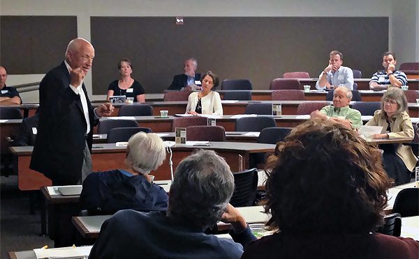 State Sen. Rollie Heath speaks before CU Advocates and CU-Boulder alumni earlier this month at CU-Boulder.
