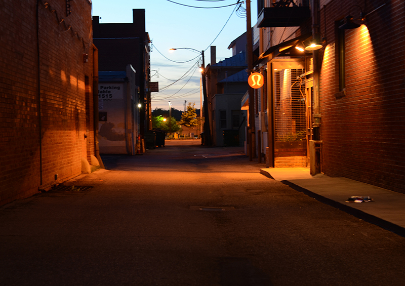 Some of Nancy Moore's photography explores city alleys.