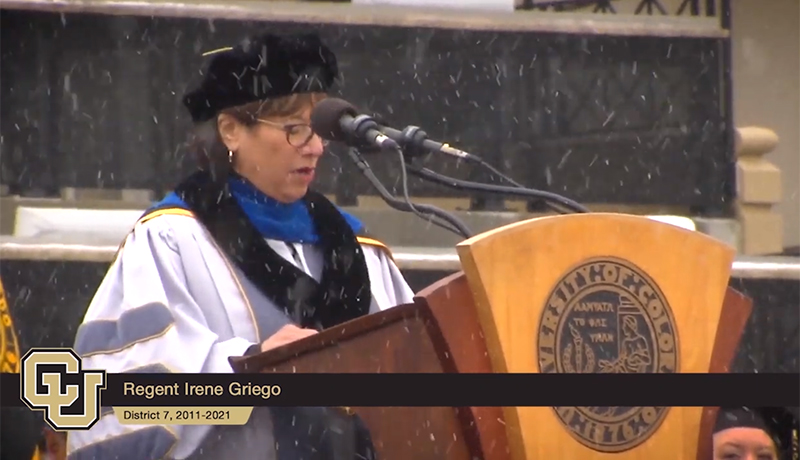 Outgoing Regent Irene Griego, gives the charge in 2019.