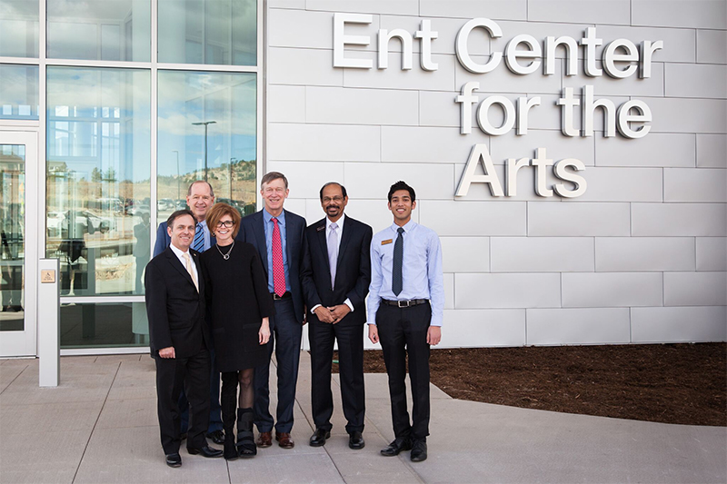 Regent Kyle and Sally Hybl, front; rear from left, Martin Wood, UCCS senior vice chancellor; Gov. John Hickenlooper; Venkat Reddy, UCCS chancellor; Joey Vijayam, UCCS student body president.