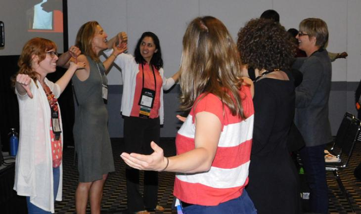 CU Denver's Saira Yasmin Hamidi, left, CU-Boulder's Karen Crouch and Affinity Arts' Rebecca Brown Adelman lead a NAFSA 2016 session on using participatory theater to connect with international students.