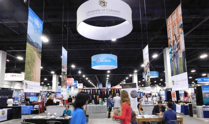 The CU booth at NAFSA 2016.