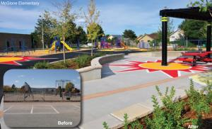 McGlone Elementary in Denver, seen before and after the Learning Landscapes renovation.