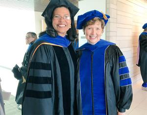Kim Hunter Reed and CU Denver Chancellor Dorothy Horrell earlier this month at commencement.