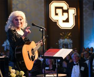 Singer-songwriter Judy Collins talks with guests during her performance at the Benson Society gala on Saturday.