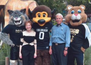 Milo the Lynx, Marcy Benson, Chip the Buffalo, Bruce Benson, Clyde the Mountain Lion