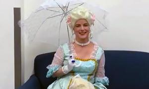 Ferguson in costume as Marie Antionette for a class on the French Revolution.