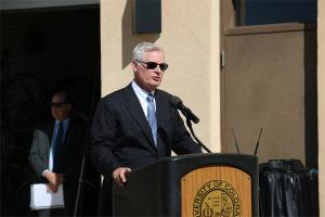 Jim Gallogly gave brief remarks at an Oct. 17 ceremony naming the Recreation and Wellness center in honor of the Gallogly family.