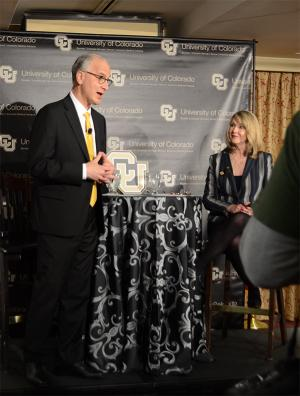 Mark Kennedy, finalist for CU president, and Board of Regents Chair Sue Sharkey at Monday's forum.