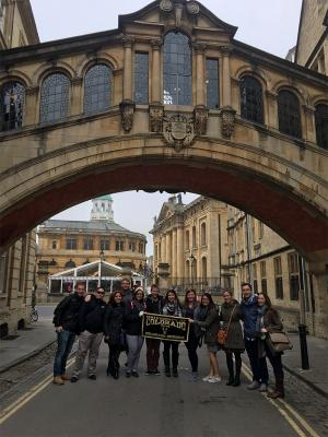 Sylvia Mendez, far right, with students at the University of Oxford in England.