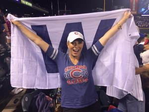 A Chicago native, Morgan shows her baseball loyalty.