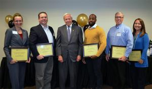 President's Employee of the Year Award nominees, from left, Kimberly Wendelin, Alan Vidmar, President Benson, winner Darrell Stevens, Calvin Anderson and Denise Nakamichi.