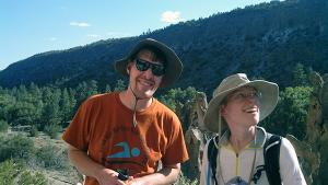 Amy Roberts hiking in New Mexico with her brother, Ben Roberts.
