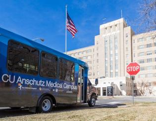 Free shuttle buses ferry CU Anschutz Medical Campus community to and from new RTD R-Line station