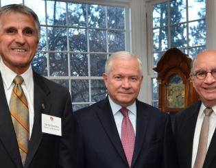 With Robert Gates and Phil DiStefano at the Leo Hill Distinguished Leadership Speaker Series