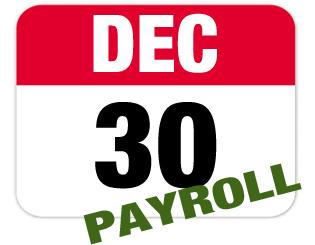 Dec. 30 is the last payroll of 2016