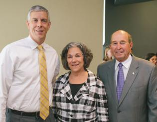 U.S. Secretary of Education Arne Duncan, left, with Rebecca Kantor, dean of the School of Education & Human Development, and CU Denver Chancellor Jerry Wartgow.