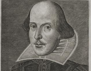 The folio's engraving of Shakespeare by Martin Droeshout