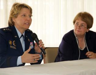Gen. Michelle Johnson, left, responds to a question while Chancellor Pam Shockley-Zalabak listens at an April 2 community event.