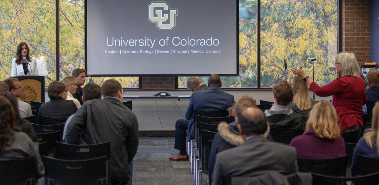 Regent Heidi Ganahl leads the Oct. 11 presidential search town hall at UCCS.