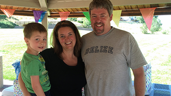 Julia Cummings with her husband, Steve, and youngest son, Emerson.