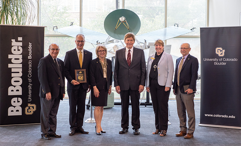 A July 2019 visit to LASP at CU Boulder. From left, Phil DiStefano, President Mark Kennedy, Debbie Kennedy, Dan Baker, Terri Fiez and Russell Moore.