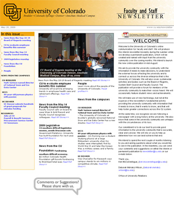 Faculty and Staff Newsletter, First Edition, May 20, 2009