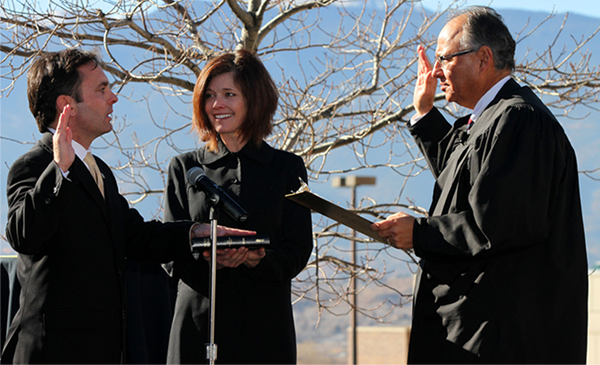 Regent Hybl being sworn in Jan. 2013
