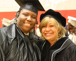 Margarita Bianco with Luke, a Pathways2Teaching student, on his high school graduation day in 2011.