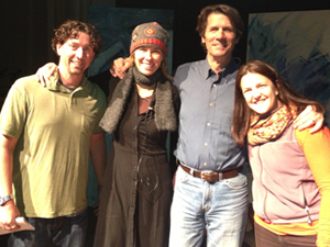 From left, Max Boykoff, Beth Osnes, James Balog and Becca Safran at the Inside the Greenhouse event in April.