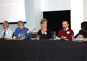 Speaking on a panel at the Undergraduate Experiences Symposium, from left, Jeff Franklin, associate dean, College of Liberal Arts and Sciences; Mitch Handelsman, professor of pscychology; Barbara Seidl, associate dean, School of Education and Human Development; Cecilio Alvarez, academic adviser, CLAS Academic Advising Office; and Khushnur Dadabhoy, dean of students and assistant vice chancellor, student life.