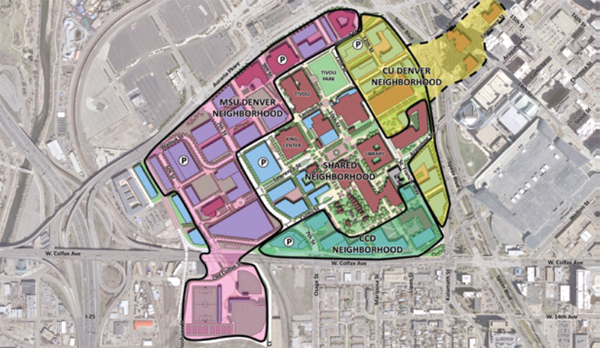 uc denver campus map Auraria Master Plan Expanding Opportunities For Cu Denver Urban uc denver campus map