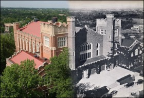 Photo Illustration by Casey A. Cass/University of Colorado This composite image shows Macky Auditorium in the 1920s and as it looks today.