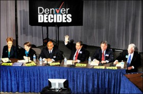 Photos by Karl Gehring of the Denver Post Denver mayoral candidates gathered Tuesday on the CU Denver campus for a debate.