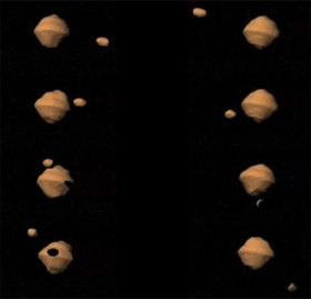 Image courtesy JPL/NASA A new study indicates that some binary asteroids, like the pair depicted in orbit around each other in this visualization, have the ability to escape from each other shortly after they are formed.