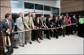 Dignitaries gather for the August dedication of the Science and Engineering building at UCCS.