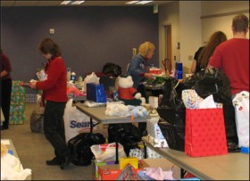 UCCS staff members prepared dozens of gift baskets for needy students as part of the annual Holiday Service Project.