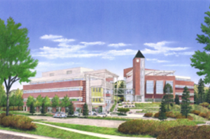 An artist's rendering of the Lane Center and Building 2