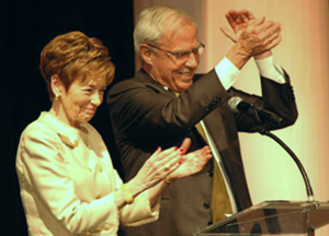 Marcy Benson and CU President Bruce Benson at a donor recognition dinner in Denver in February 2014.