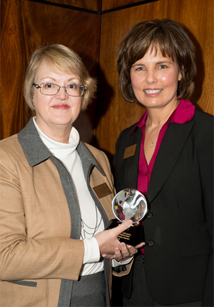 Rankin with Cynthia Husek (right), assistant vice chancellor for research operations (right)